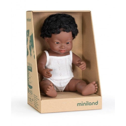 Miniland | Anatomically Correct Doll | African Boy | Down Syndrome | 38 cm