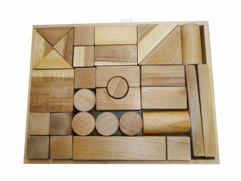 Natural Wood Blocks 34 Pieces by Qtoys