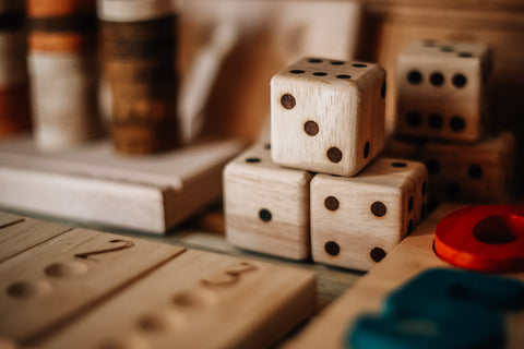 Wooden Dice Set of 6 by Qtoys