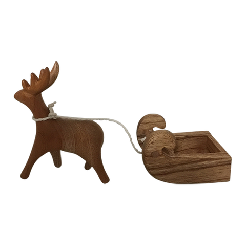 Wooden Reindeer & Sleigh Set by Papoose Toys