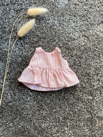 Eve Junior Design | Amelia Dress | Pink Stripe Cotton | 21 cm