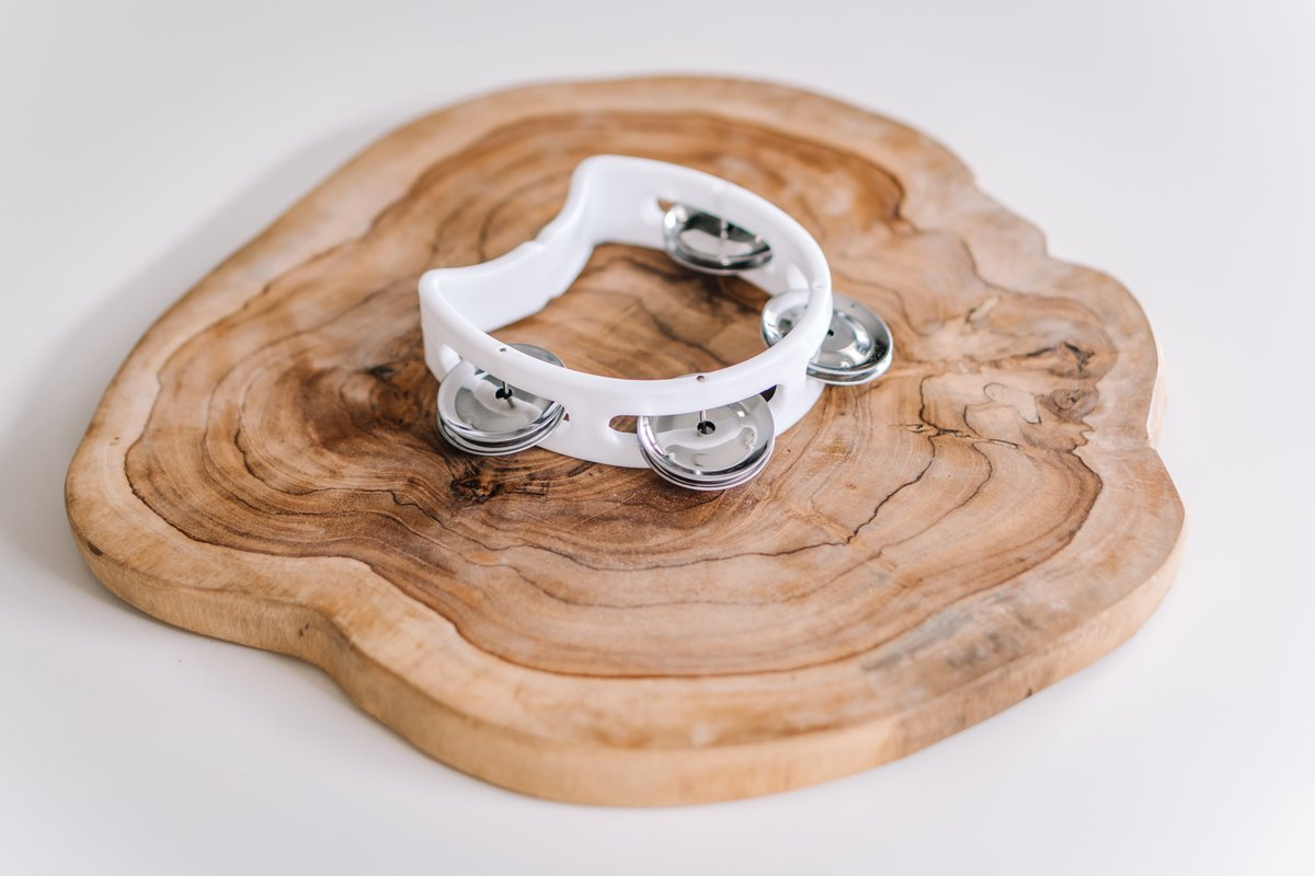 Mini White Tambourine by Babynoise