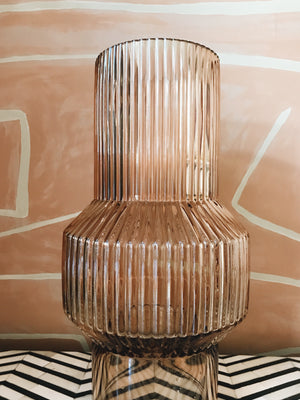 Vase Glass Ribbed Brown