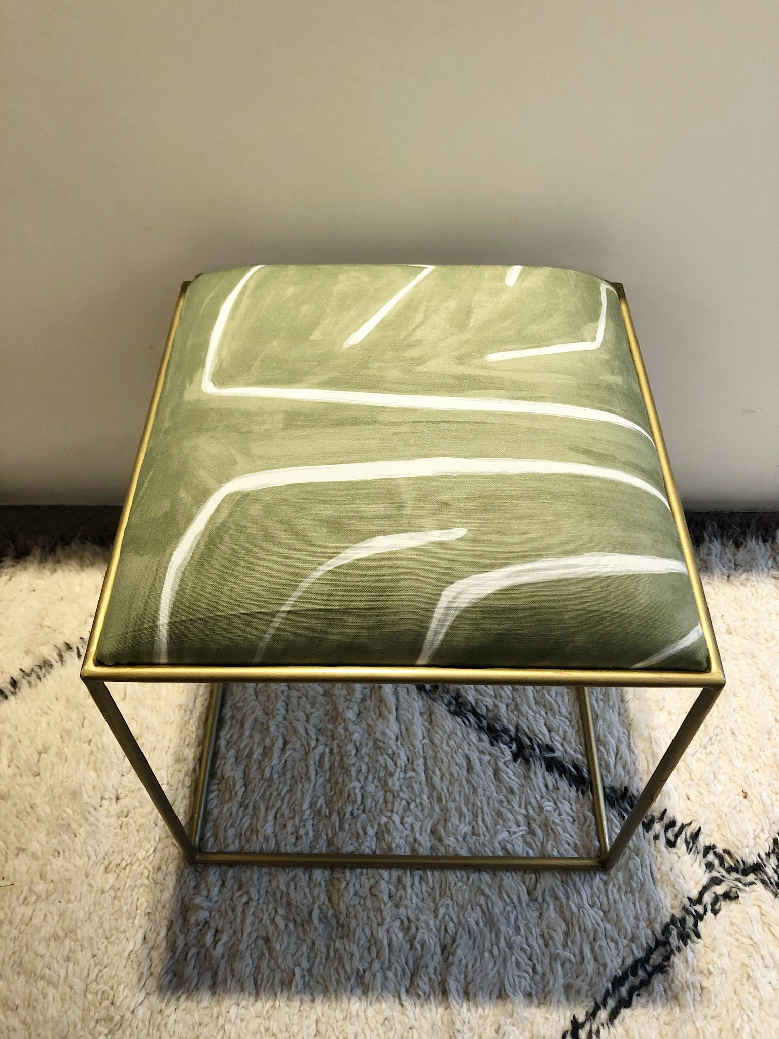 Stool Brass Kelly Wearstler Fabric