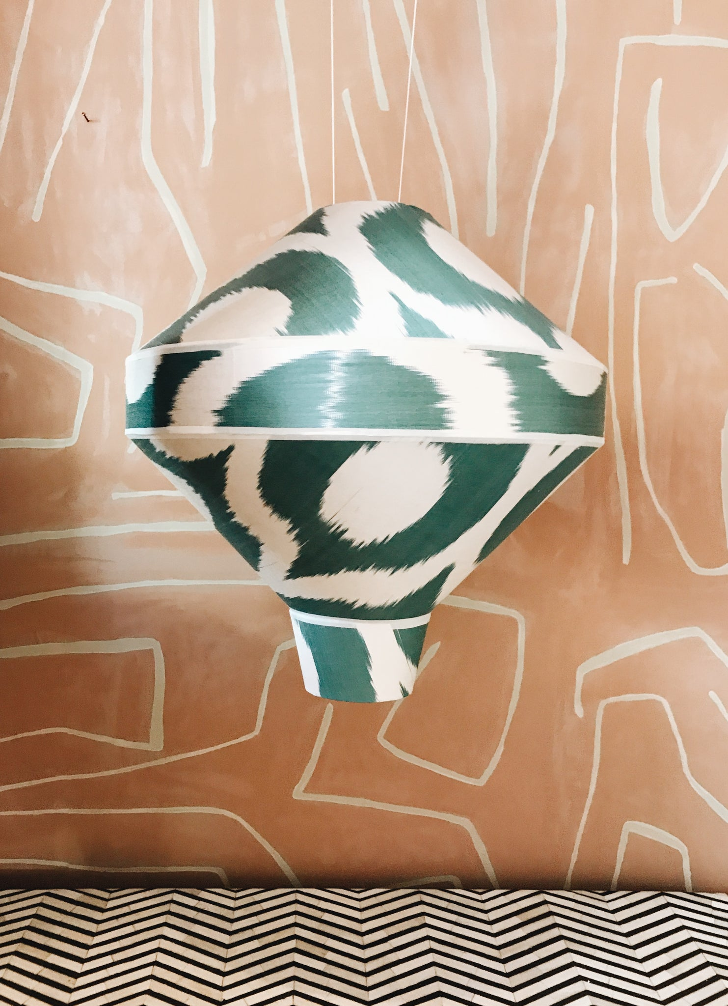 Hanging Silk Ikat Lamp