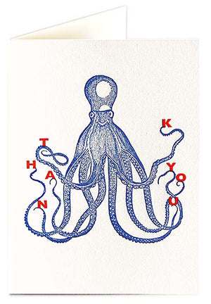 Card Thank you Octopus small