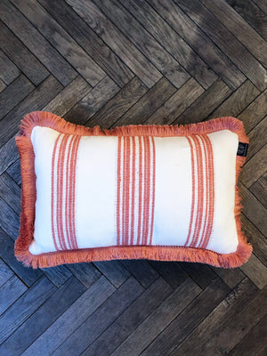 Cushion Stripes Red Fringe