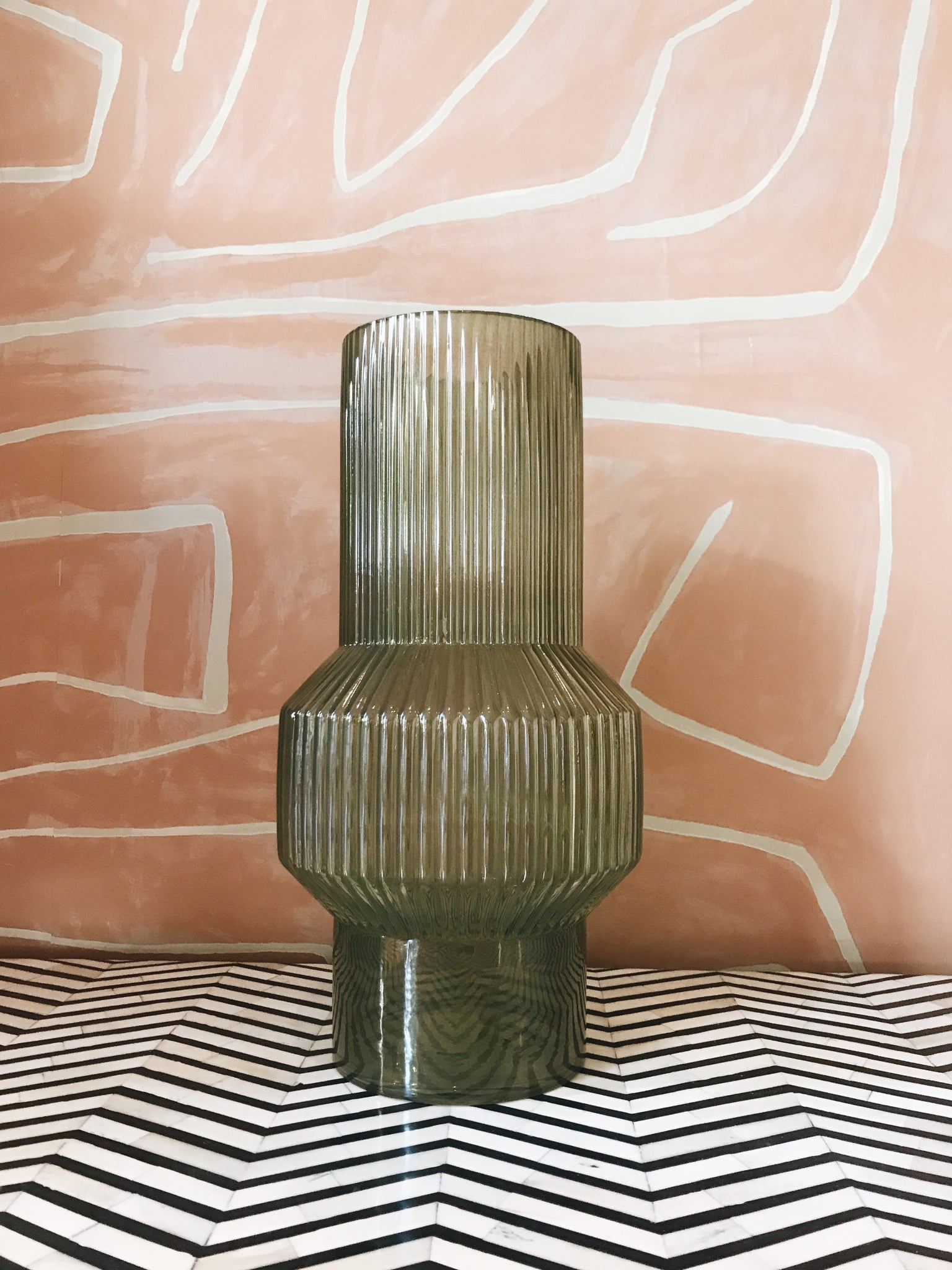 Vase Glass Ribbed Green