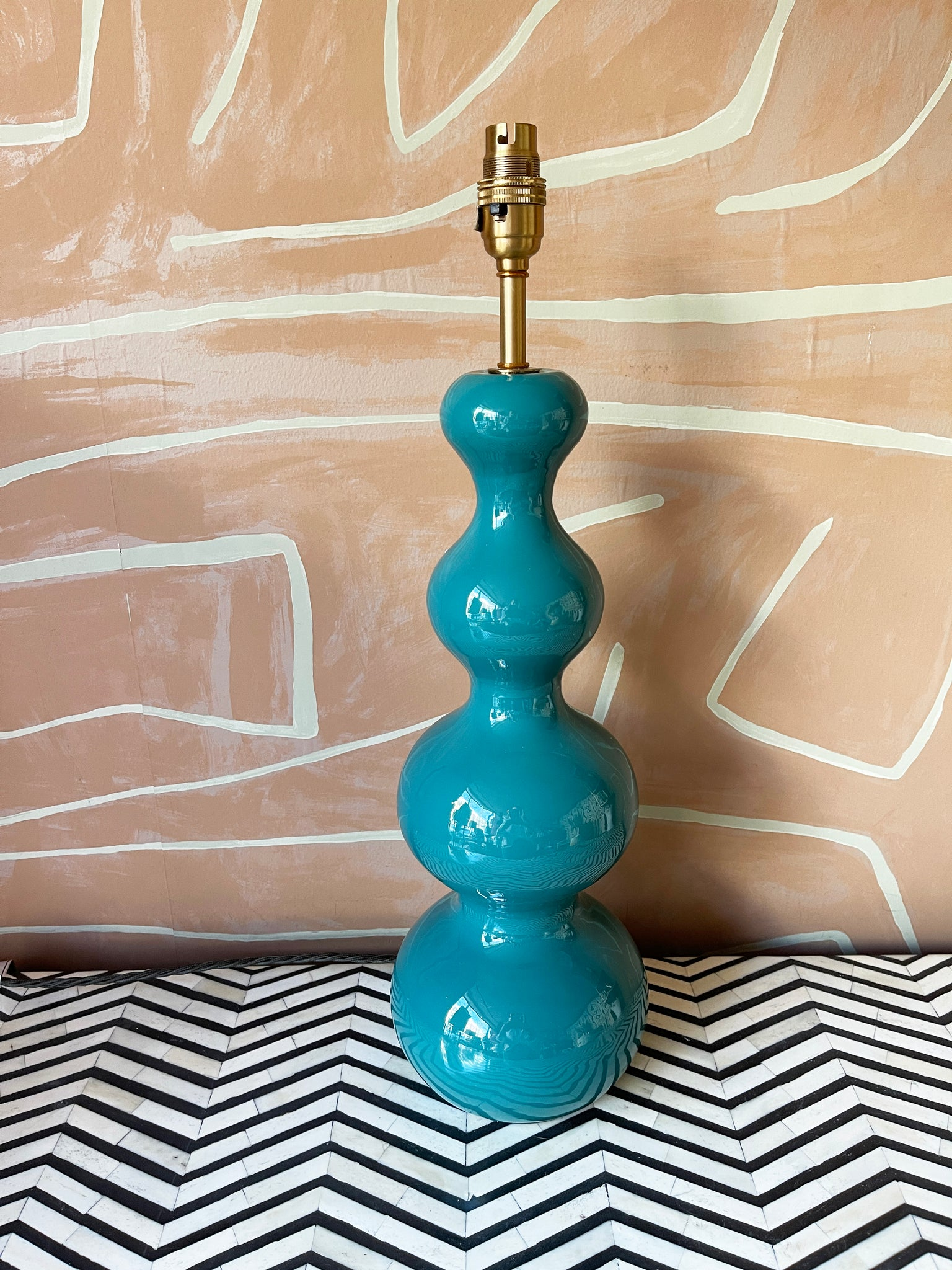 Lampbase In Turquoise Lacquered Wood