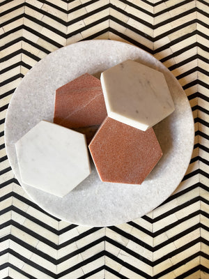 Marble Hexagonal Glass Holder