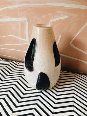 Vase Glass White With Black Dots