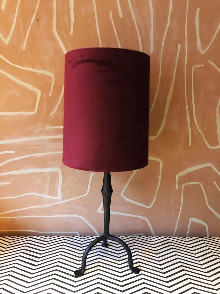 Lampshade Velvet Red Round