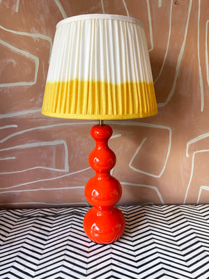 Lampbase In Orange Lacquered Wood