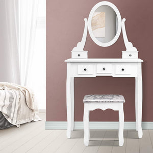 Dressing Table Round Mirror with Stool Set - White