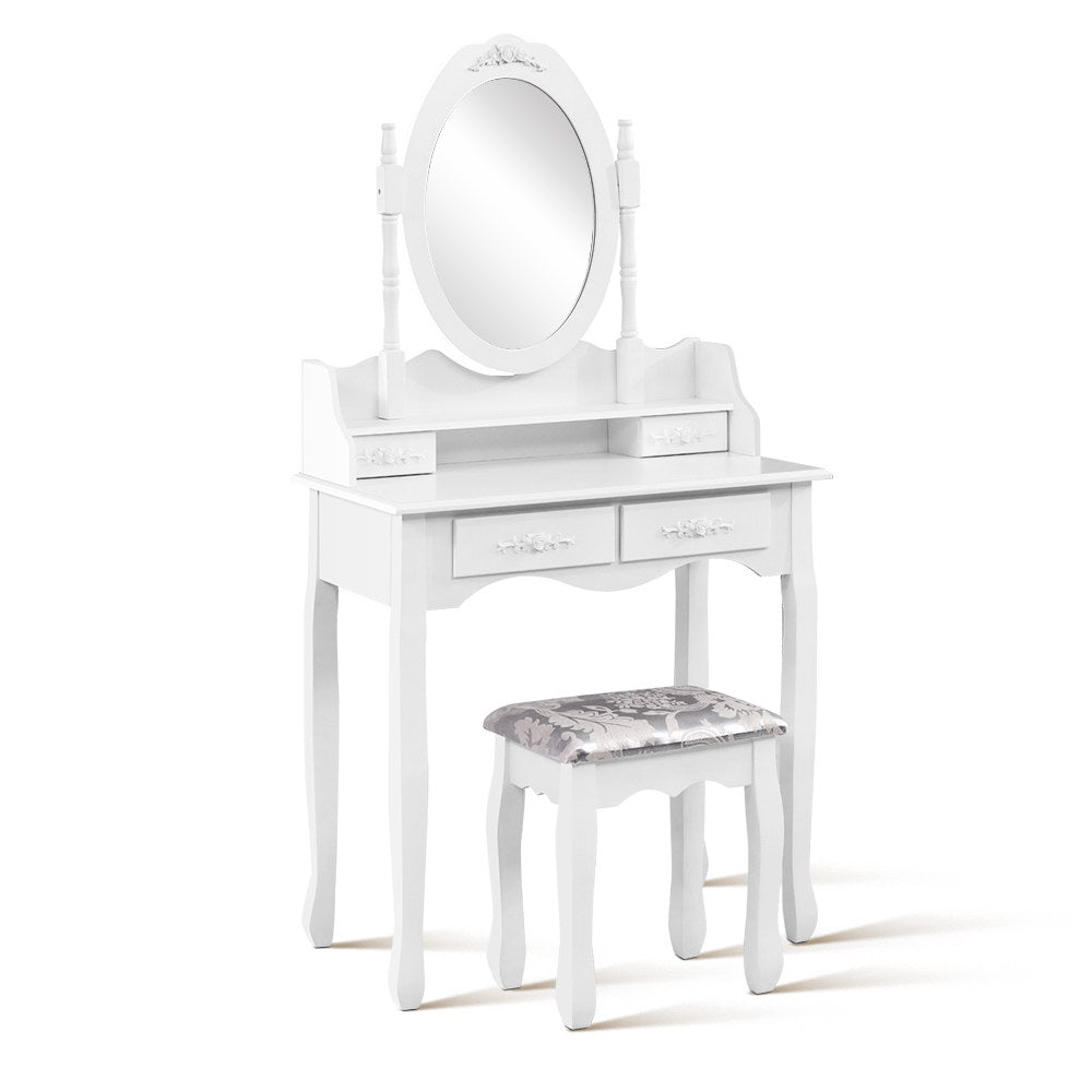 4 Drawer Dressing Table with Round Mirror - White