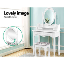 Load image into Gallery viewer, 4 Drawer Dressing Table with Round Mirror - White