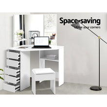 Load image into Gallery viewer, Corner Dressing Table With Mirror and Stool - White