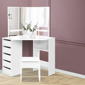 Corner Dressing Table With Mirror and Stool - White