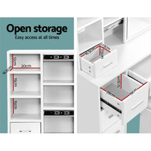 Load image into Gallery viewer, Dressing Table with Stool, Jewellery Cabinet and Makeup Storage - White