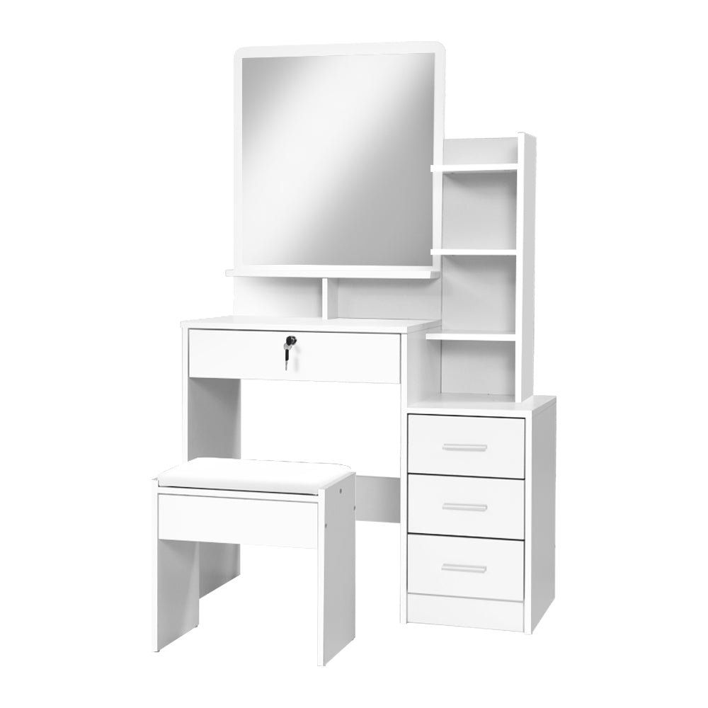 Dressing Table with Stool and Storage - White