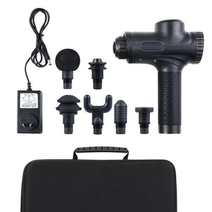 LED Electric Massager Gun 6 Heads Muscle Percussion Therapy - Black