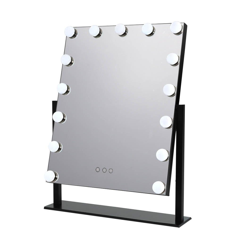 Makeup Mirror With Light 15 LED Lighted Standing Hollywood Vanity Black