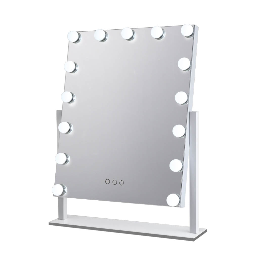 Makeup Mirror With Lighted 15 LED Standing Lights Hollywood Vanity White