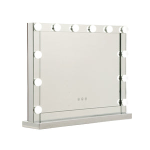 Hollywood Makeup Mirror With Light 12 LED Bulbs Vanity Lighted Silver 58cm x 46cm