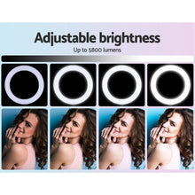 "Load image into Gallery viewer, 19"" LED Ring Light 6500K 5800LM Dimmable With Stand Make Up Studio Video"