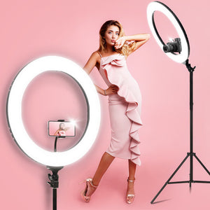 "19"" LED Ring Light 6500K 5800LM Dimmable With Stand Make Up Studio Video"