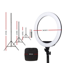 "Load image into Gallery viewer, 14"" LED Ring Light 5600K 3000LM Dimmable Stand MakeUp Studio Video"