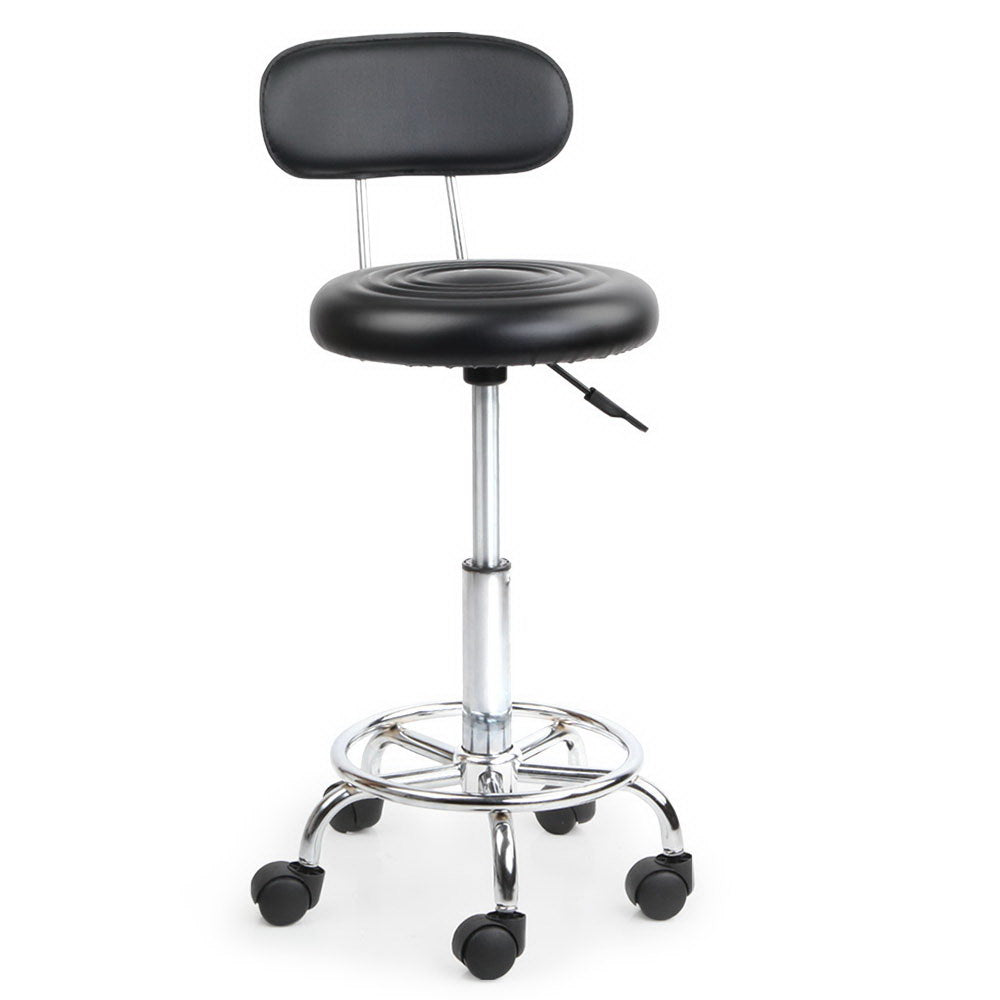 Swivel Chair with Backrest - Black