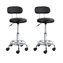 Load image into Gallery viewer, Set of 2 Salon Swivel Stool with Backrest - Black