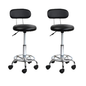 Set of 2 Salon Swivel Stool with Backrest - Black