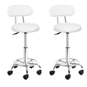 Set of 2 Swivel Salon Stool - White