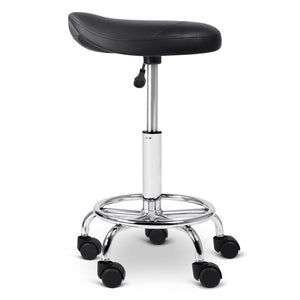 Swivel Saddle Salon Stool - Black