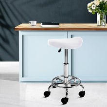 Load image into Gallery viewer, Swivel Saddle Salon Stool - White