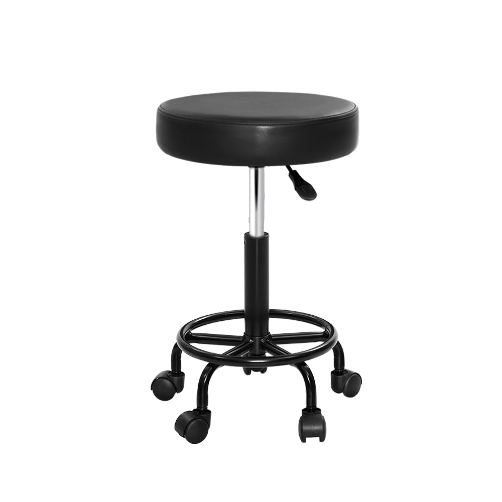 Round Swivel Salon Stool - Black