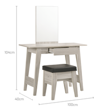 Load image into Gallery viewer, Dressing Table With Stool In White Oak