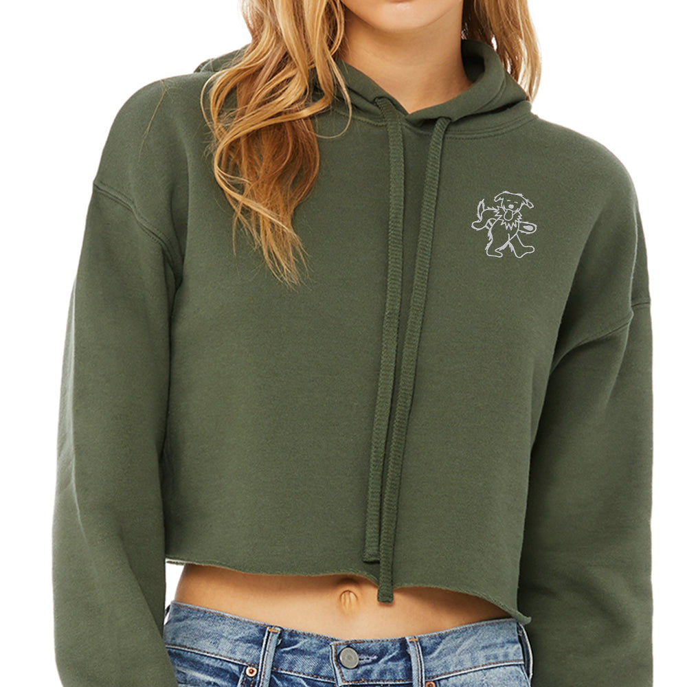Dancing Frank Emb. Crop Hoody (Green)