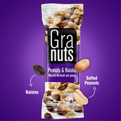 Granuts Peanuts & Raisins Display 1.76 Oz - 12 ct