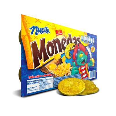Bandeja de monedas de oro de chocolate Nucita 10 oz - 48 ct