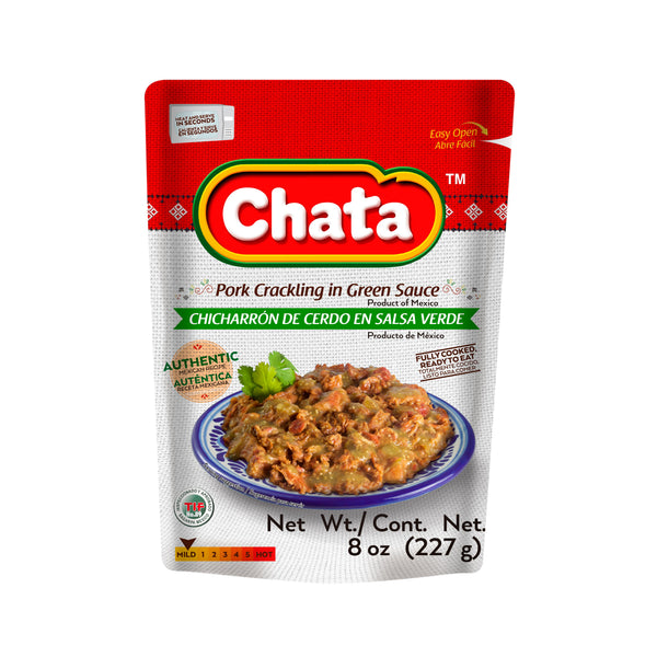 Chata Pork Crackling In Green Sauce Pouch 8 Oz