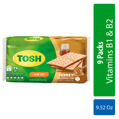 Tosh Crackers Honey 9.52 Oz - 9 ct