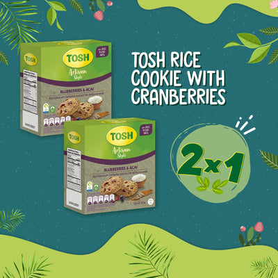 BOGO Tosh Rice Cookie With Cranberries & Acai 5.5Oz - 6 ct