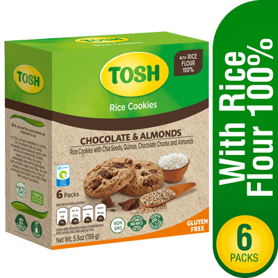 Tosh Rice Cookie With Chocolate & Almonds 5.5 Oz - 6 ct