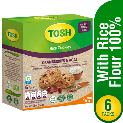 Tosh Rice Cookie With Cranberries & Acai 5.5Oz - 6 ct