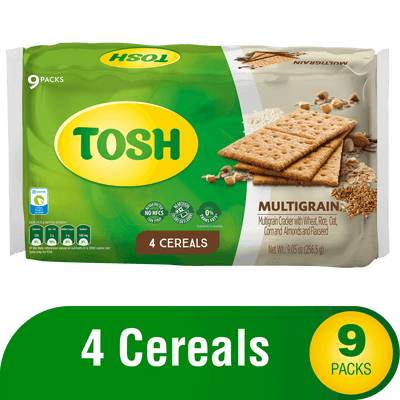 Tosh Multigrain Crackers 9.05 Oz - 9 ct