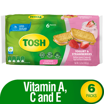 Tosh Yogurt And Strawberry Cookies 5.24 Oz - 6 ct