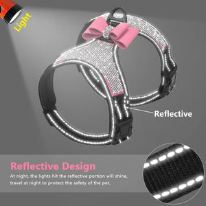 Reflective Bling Chihuahua Harness & BowTie - Chihuahua We Love